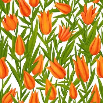 Vintage wzór bezszwowe tulipany różowe z zielonymi wiosennymi kwiatami