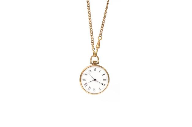 Vintage zegarek łańcuch na białym tle.