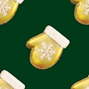 Vintage zima wzór złota rękawiczka świąteczna z białym płatkiem śniegu na zielonym tle.