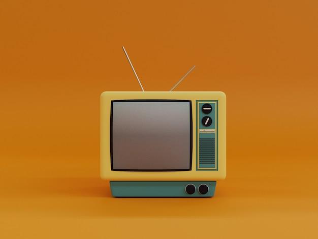 Vintage żółty telewizor z anteną i pomarańczowym tłem w projekcie 3d