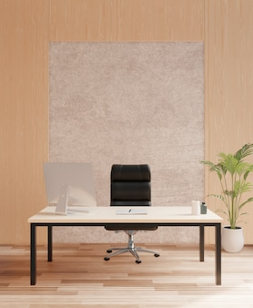Vip biuro, kierownika pokój, betonowa ściana, 3d rendering