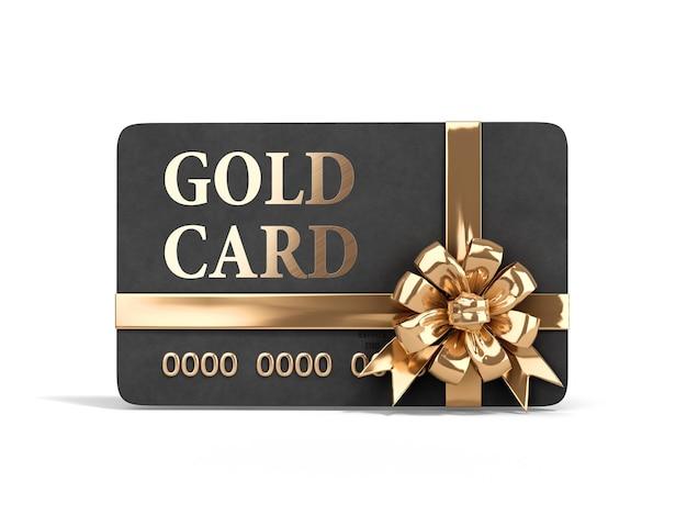 Vip złota karta z złoty łuk renderowania 3d na białym tle