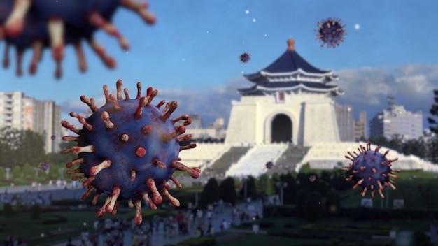 Virus covid 19 w sali pamięci miasta tajpej