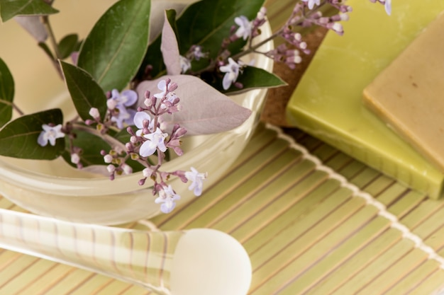 Vitex trifolia purpurea kwiaty, zielone liście i ekstrahowane używane do produkcji mydła na białym tle.