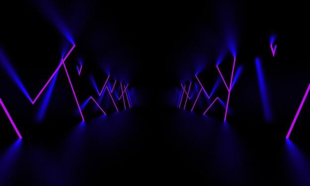 W ciemnym pokoju świeci fioletowe światło lasera. ilustracja 3d.
