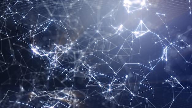 W digital network solutions dla reklamy i tapet na scenie innowacji science fiction i technologii