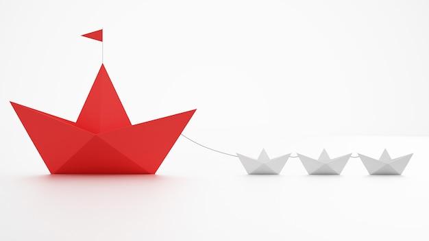 W jedności siła. małe papierowe łódki, które holują większy statek. pojęcie pracy zespołowej i sojuszu. renderowanie 3d