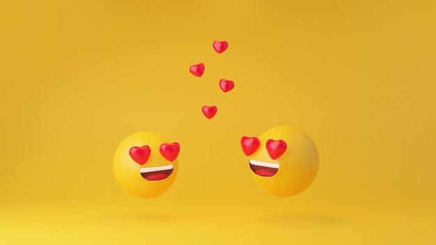 W miłości emotikon żółta głowa na żółtym tle studio renderowania 3d