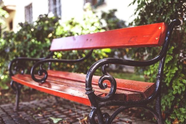W parku stoi brązowa ławka z czarnymi żelaznymi poręczami. miękkie tło