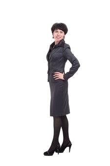 W pełnym wzroście. nowoczesna biznesowa kobieta w garniturze
