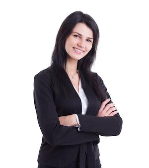 W pełnym wzroście. pewna siebie młoda kobieta biznesu