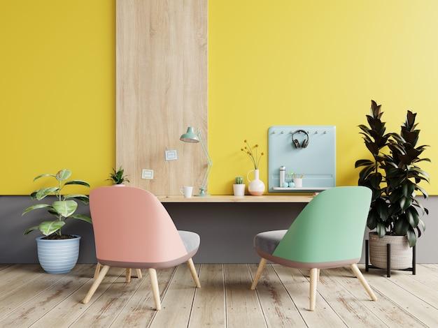 W pokoju biurowym na pastelowym tle znajduje się żółta ściana. renderowanie 3d