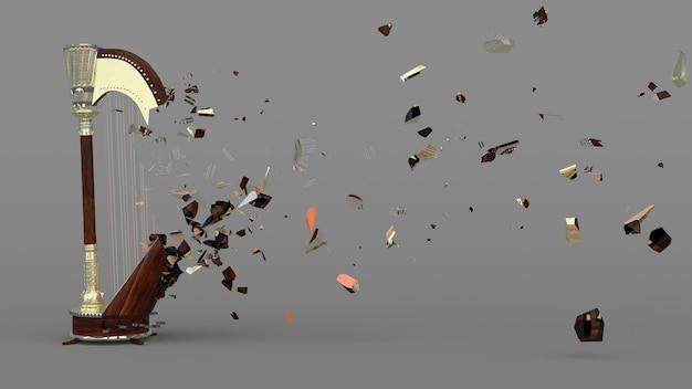 W połowie zniszczona harfa z latającymi fragmentami, ilustracja 3d