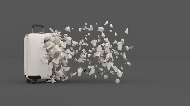 W połowie zniszczona walizka z odlatującymi fragmentami, ilustracja 3d