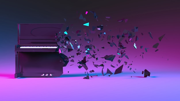 W połowie zniszczone pianino z fragmentami odlatującymi w neonowym oświetleniu, ilustracja 3d