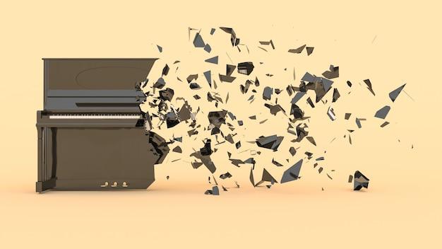 W połowie zniszczony fortepian z odlatującymi fragmentami, ilustracja 3d