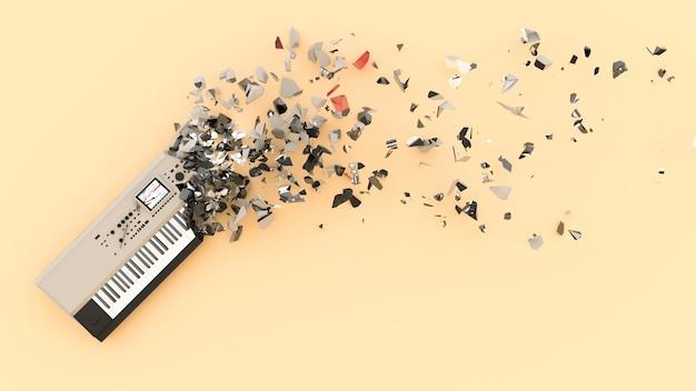 W połowie zniszczony syntezator z latającymi szczątkami, ilustracja 3d