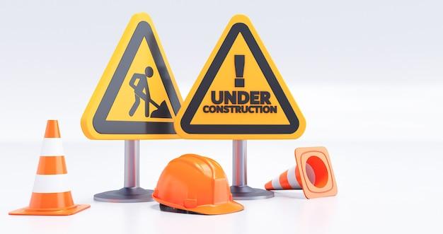 W ramach koncepcji budowy, plac budowy, bariera drogowa ze znakiem i szyszkami. renderowanie 3d
