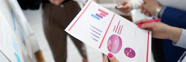 W rękach pracowników biznesu znajdują się wykresy ze wskaźnikami handlowymi i finansowymi. koncepcja odpowiedzialności biznesowej i analizy