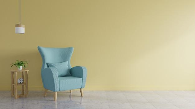 W salonie znajduje się niebieska sofa ozdobiona lampkami i drzewami z żółtymi ścianami w tle. renderowanie 3d.