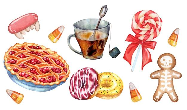 W skład zestawu słodyczy wchodzi filiżanka herbaty z wiśniami, lizak, pączki, pierniki i karmelki