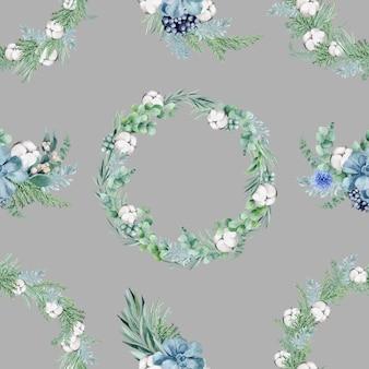 Waciki i kwiaty na szarym tle