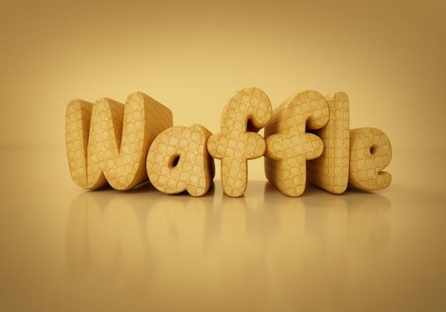 Wafel słowo na pisać wafel tekstury pomarańczowym tle .3d ilustracji.