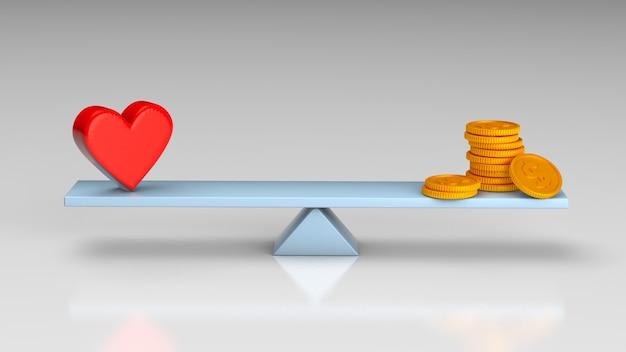 Wagi równoważą pieniądze lub serce. pojęcie zdrowia lub pieniędzy, związek za pieniądze. renderowania 3d.