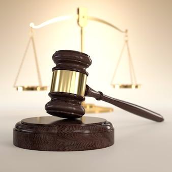 Wagi sprawiedliwości i młotek