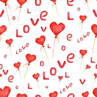 Wakacje wzór z serca balony i strony napis.