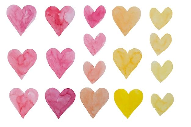 Walentynki akwarela ręcznie malowanie różowy i żółty zestaw serca.