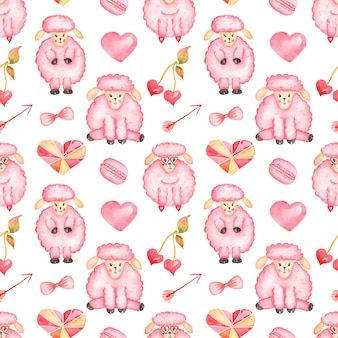 Walentynki bezszwowe wzór, akwarela słodkie owce zwierząt, makaronik, serca, papier ze strzałkami, projektowanie druku, papier do notatnika, papier dla dzieci, miłość print
