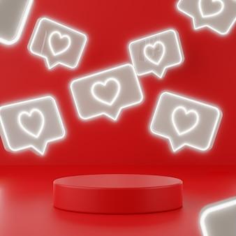 Walentynki czerwone podium z neonowymi znakami miłości, renderowanie 3d