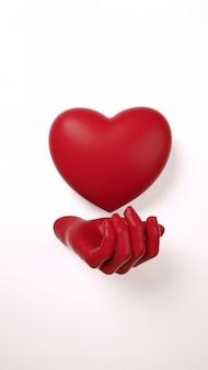 Walentynki-dzień ręka trzyma serce tło. ciemnoczerwony kolor na białym płaskim leżał. uwielbiam kartkę z życzeniami