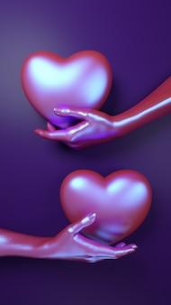 Walentynki-dzień ręka trzyma serce tło. holograficzny neonowy kolor leżał płasko.