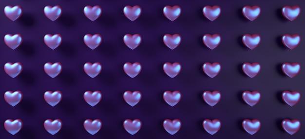 Walentynki-dzień serca tło wzór. holograficzny płaski fioletowy neon leżał.