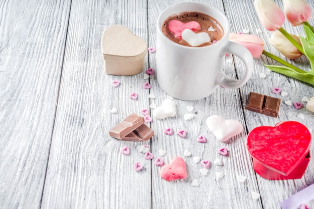 Walentynki gorąca czekolada z sercem ptasie mleczko