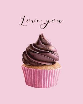 Walentynki! miłość i 14 lutego. śliczne akwarele ilustracji czekoladowej babeczki.