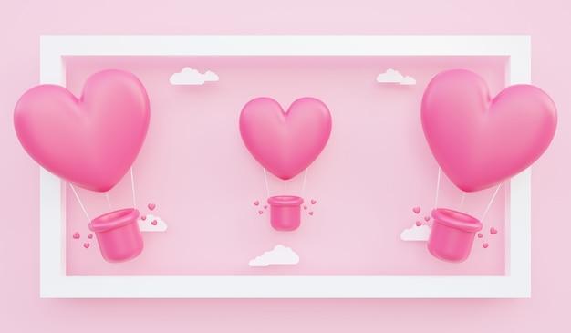 Walentynki, miłość koncepcja tło, ilustracja 3d różowych balonów na ogrzane powietrze w kształcie serca unoszące się z ramki z chmurą papieru