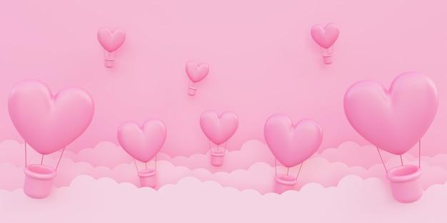 Walentynki, miłość koncepcja tło, różowe balony na ogrzane powietrze w kształcie serca 3d latające na niebie z chmurą papieru, miejsce