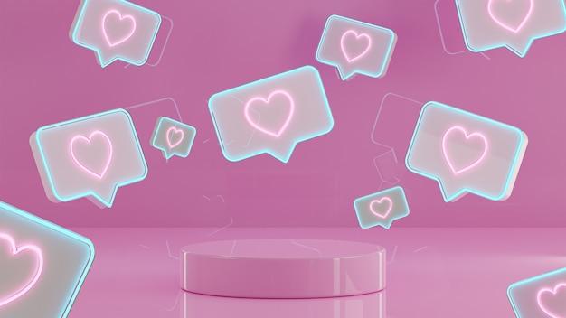 Walentynki podium stoją tło dla renderowania 3d banner społecznej