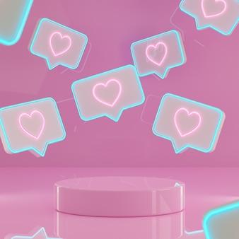 Walentynki podium stoją tło z neonowymi znakami miłości renderowania 3d
