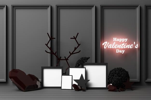 Walentynki pojęcia czerni czerń dekoruje ścianę z czarnymi sercami z czerni gwiazdą i dekoraci 3d renderingiem