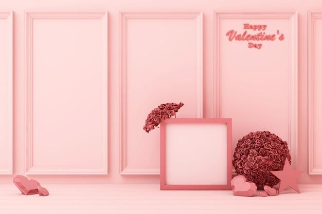 Walentynki pojęcia menchii dekorują ścianę z różowymi sercami z menchii gwiazdą i dekoraci 3d renderingiem