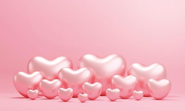 Walentynki projekt koncepcyjny serc różowego złota na różowym tle papieru