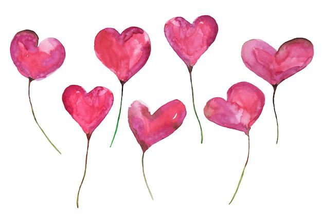 Walentynki ręcznie malowane akwarele zestaw różowy i żółty serca.