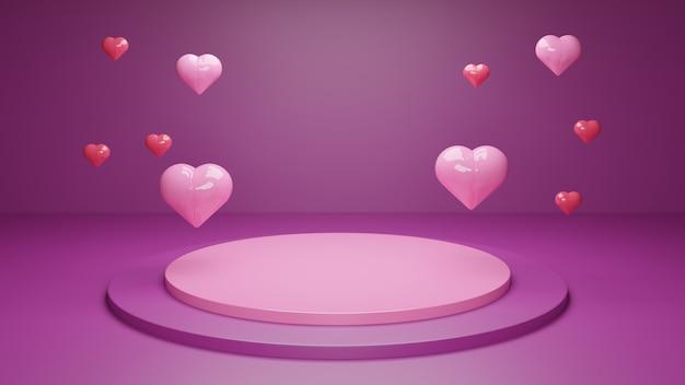 Walentynki renderowania 3d podium z geometrycznymi kształtami