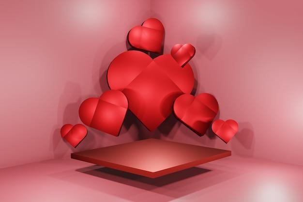 Walentynki różowe tło z 3d serca, serce z pustym podium