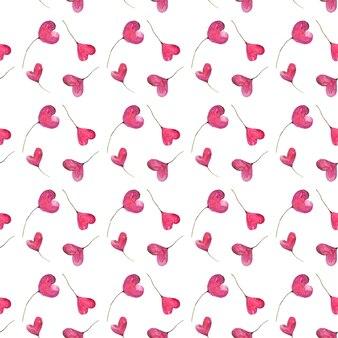 Walentynki serca, akwarela ręcznie malowanie różowe serca, wzór.