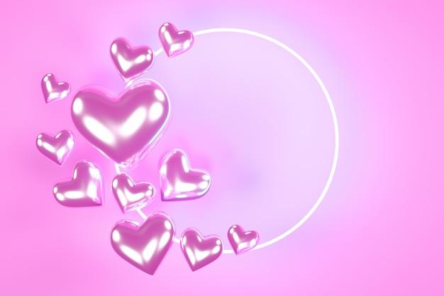 Walentynki serca z neonem. modny wzór tła.